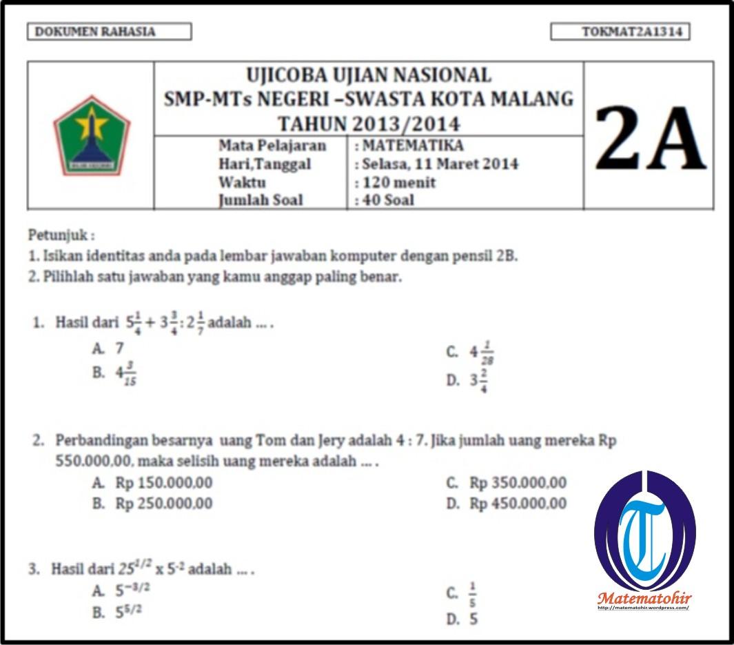 Soal Dan Jawaban Matematika Smp Kelas 9